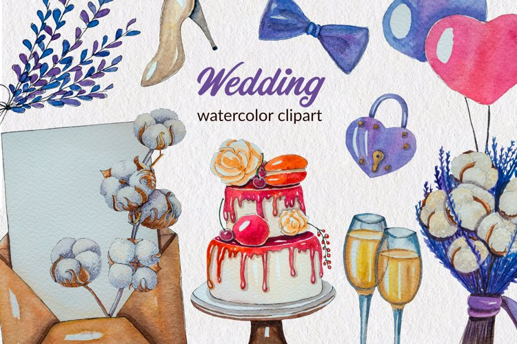 Lavender wedding watercolor hand-painted clipart PNG Element example image 1