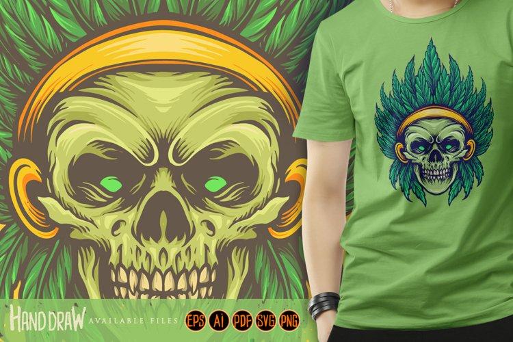Skull Indian Green Leaf Sublimation
