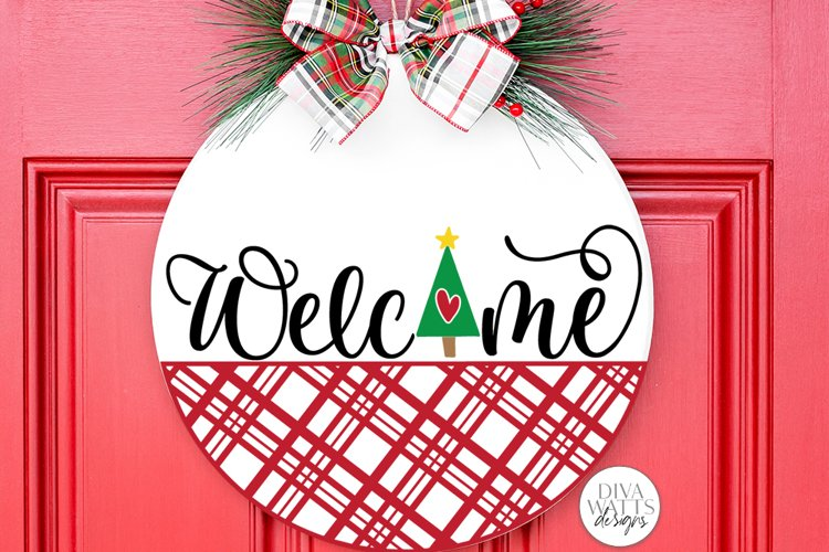 Welcome with Christmas Tree and Plaid SVG | Winter Door Hang example image 1