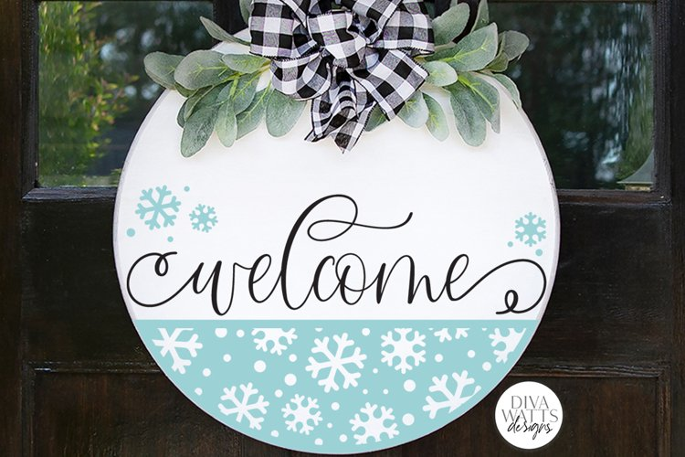 Welcome with Snowflake Half Round SVG   Winter Design example image 1