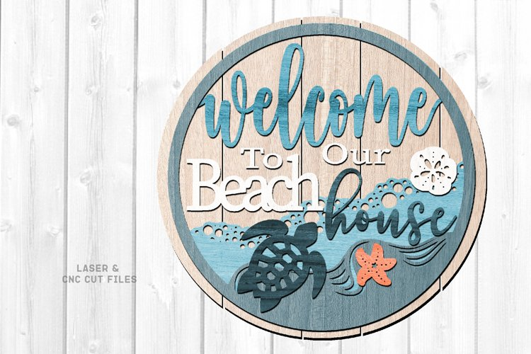 Shiplap Beach House Round Turtle Sign SVG Glowforge Files example image 1
