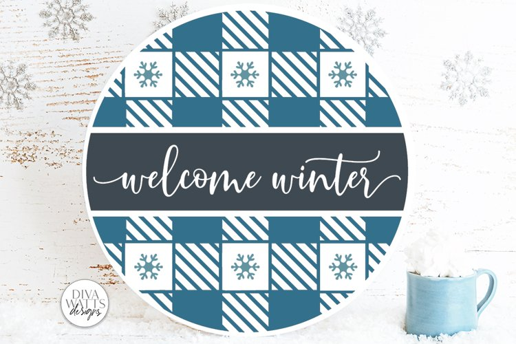 Welcome Winter Plaid SVG   Christmas Round Design example image 1