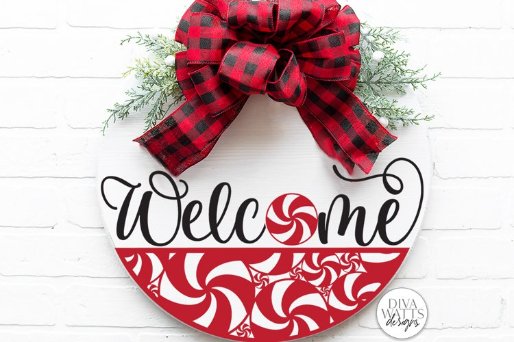 Welcome With Peppermint Round SVG | Christmas / Winter SVG example image 1