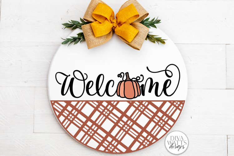 Welcome With Pumpkin And Plaid SVG | Farmhouse Fall Door Han example image 1