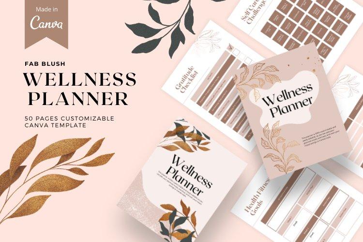 Fab Blush, Wellness planner template, Canva