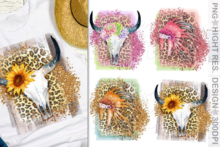 Feather Headress sublimation design, Cow skull png