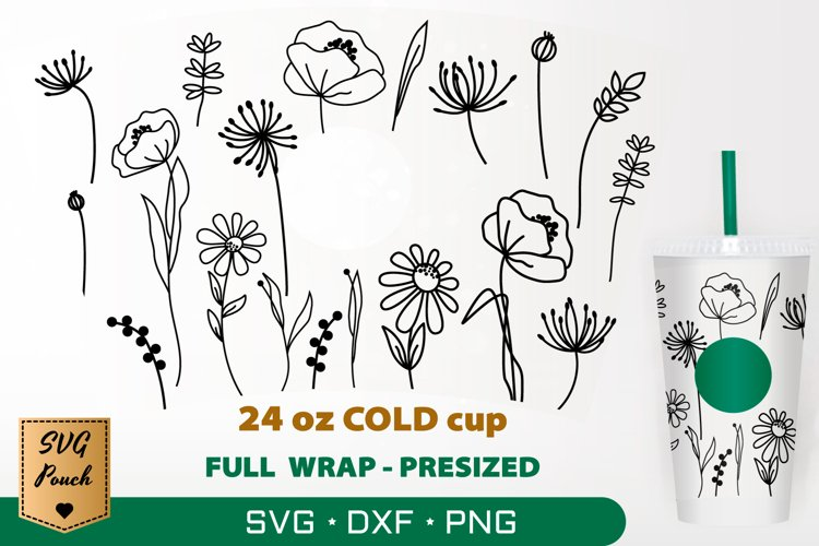 Wildflowers cup wrap SVG example image 1