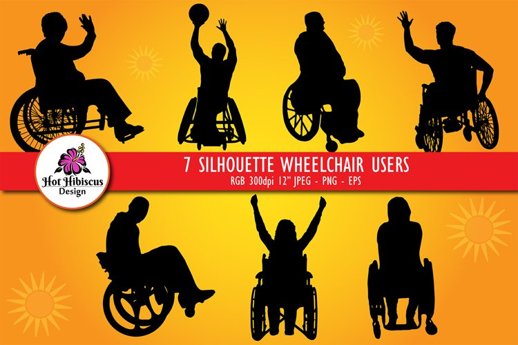 Silhouette Wheelchair Users, Disabled People Silhouettes