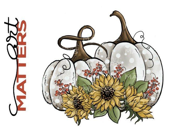 White Pumpkins Sunflowers - Hand Painted - 300 DPI