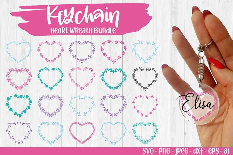 Keychain Heart patterns svg, Laurel Wreath svg, Monogram svg example image 1