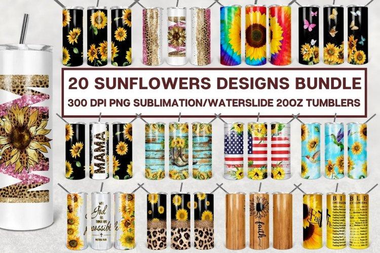 Sunflowers Tumbler Sublimation Designs Bundle 20oz - PNG