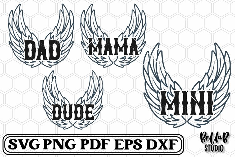 Rock n Roll Wings Family SVG Bundle
