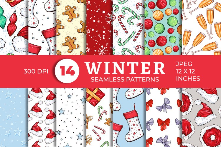 Cute Winter Christmas Seamless Patterns Collection example image 1