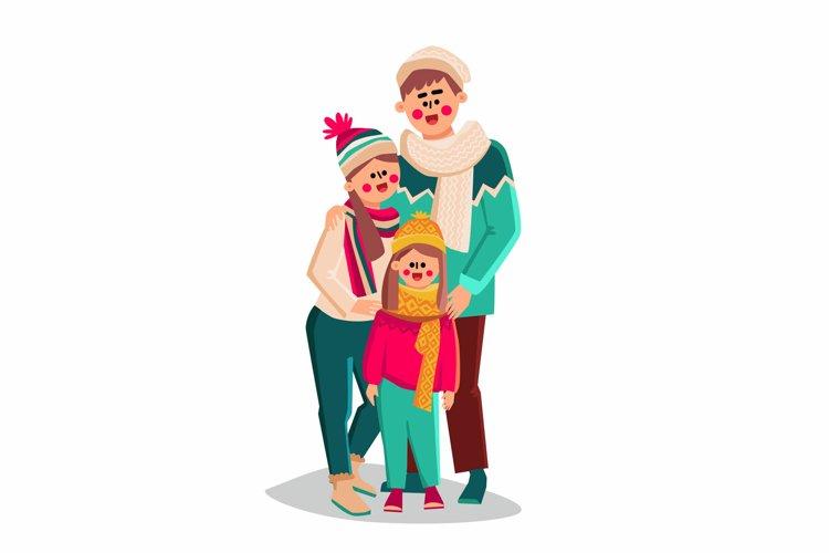 Family Walking In Winter Season Clothes Vector
