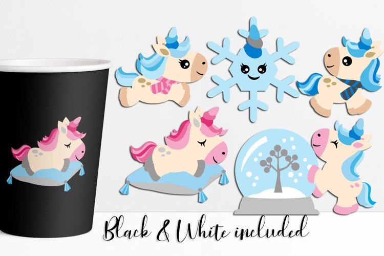 Winter unicorn clipart for kids market