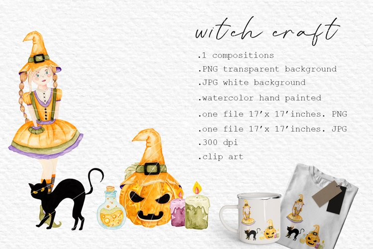Witch craft watercolor clipart, Black cat cards decor diy