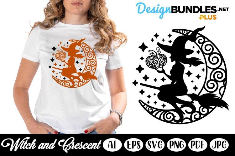 Halloween Witch, Crescent and Pumpkin SVG