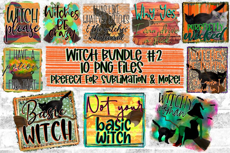 Witch/Halloween/Fall Design Bundle|10 PNG Files|Sublimation example image 1
