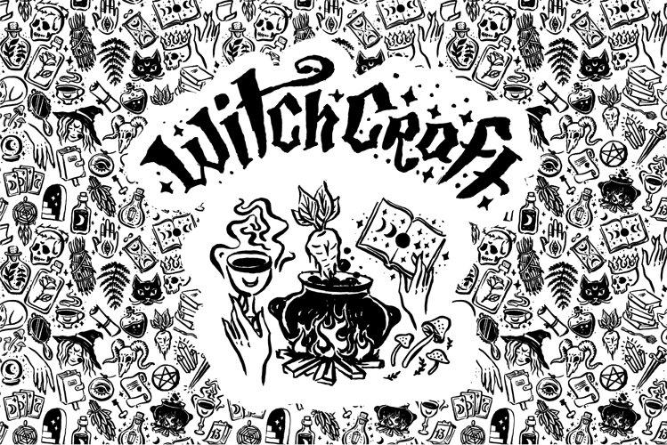 Witchcraft illustrations set.
