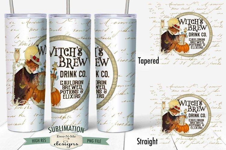 20 oz Skinny Tumbler Sublimation   Vintage Witch Brew Drink