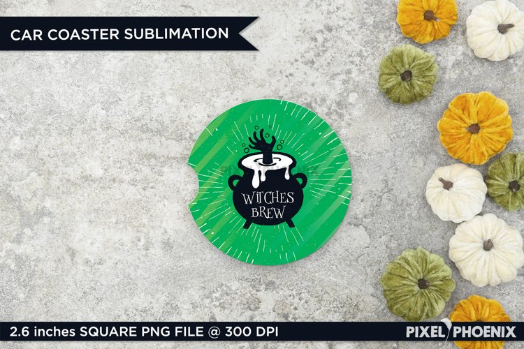 Witches Brew Car Coaster Sublimation for Halloween in green