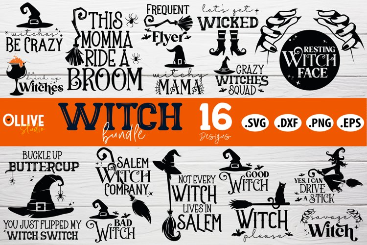 Halloween Witch Bundle SVG | Halloween SVG PNG DXF EPS example image 1