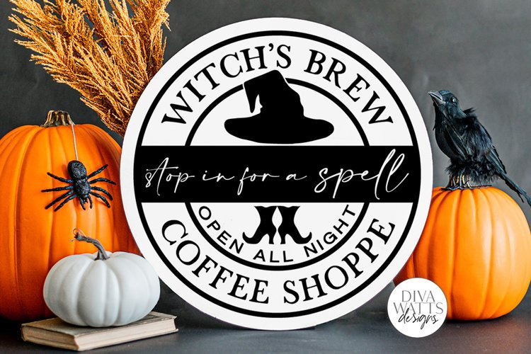 Witch's Brew Coffee Shoppe | Halloween Kitchen Round Sign De example image 1