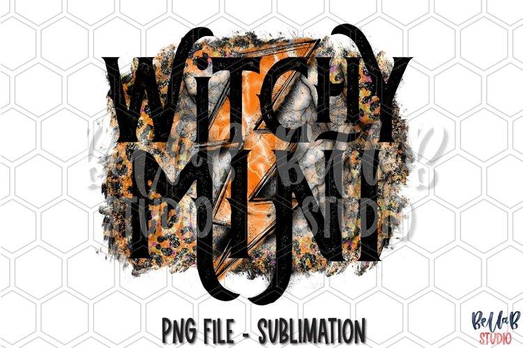 Witchy Mini Sublimation Design, Halloween Lightning Bolt