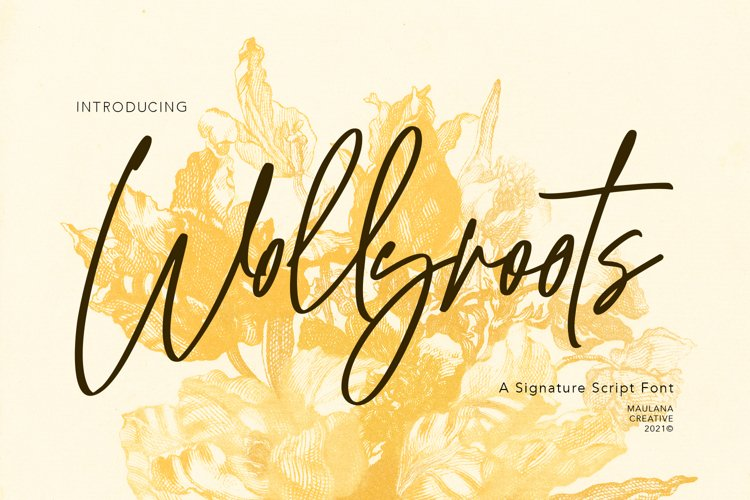 Wollyroots Signature Script Font example image 1