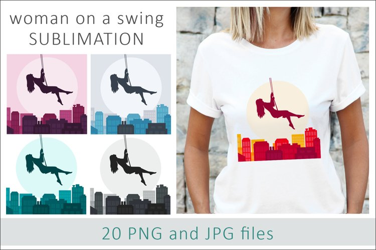 Woman on the swing Sublimation Designs PNG