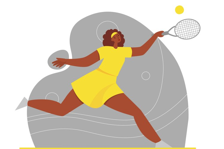 Afro american woman play tennis in yellow sport clothes example image 1
