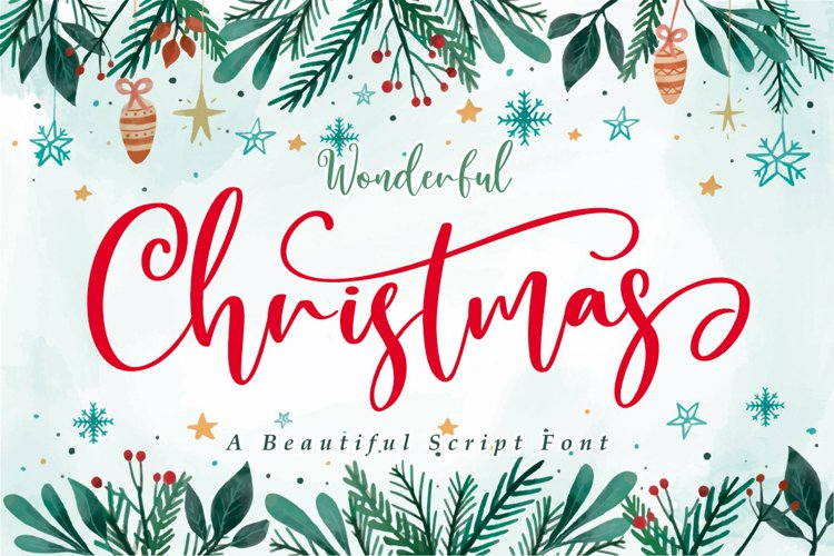 Wonderful Christmas | A Beautiful Christmas Script Font example image 1