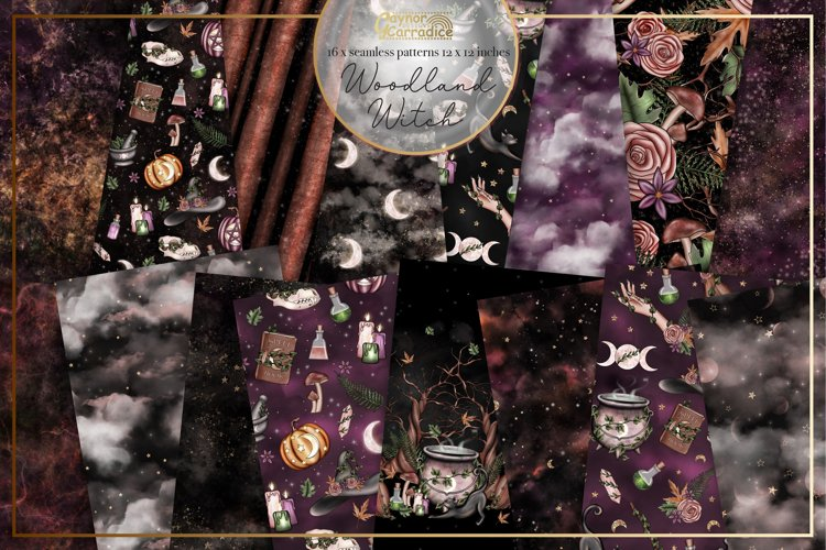Woodland Witch - Halloween Witch seamless patterns