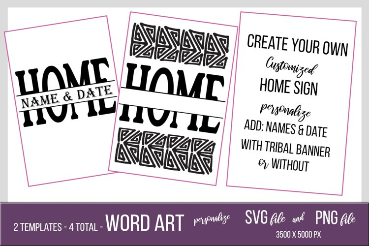 Personalized Tribal Home Sign - PNG and SVG Template example image 1