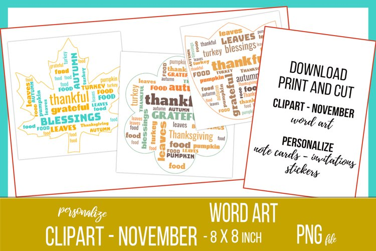 Word Clouds - Word Art - November Clipart