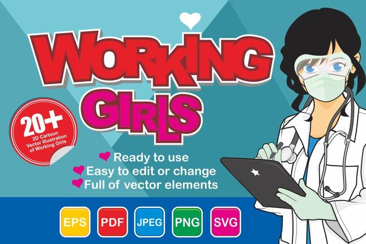 Working Girls - 2D Vector Illustration