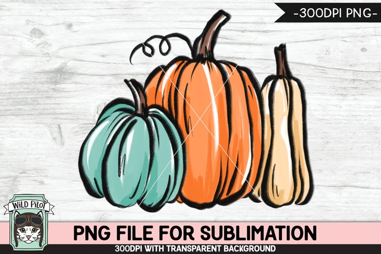 Pumpkins Sublimation design PNG, Thanksgiving, Fall, Autumn example image 1
