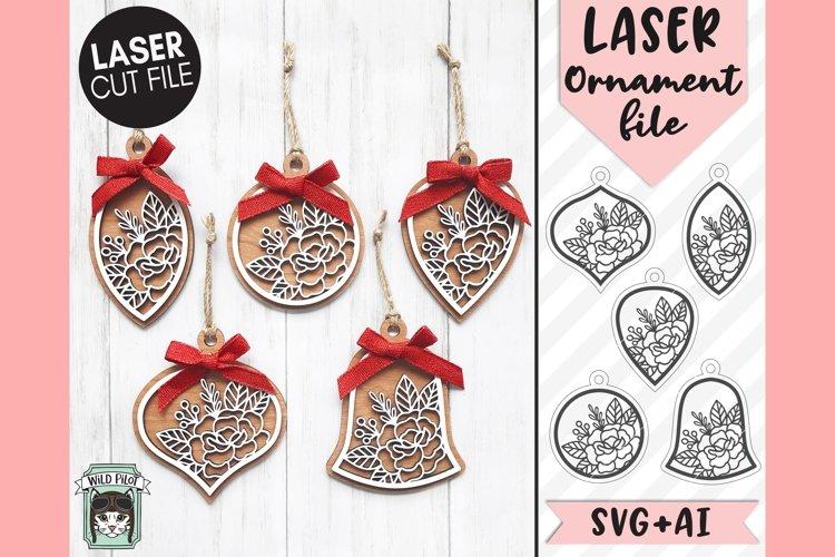 Floral Ornament Laser SVG Cut File, Christmas Laser SVG File example image 1