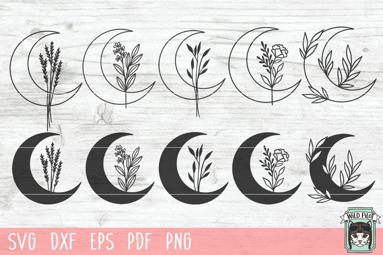 Moon Leaves Bundle SVG, Moon Floral SVG, Moon Flowers SVG example image 1