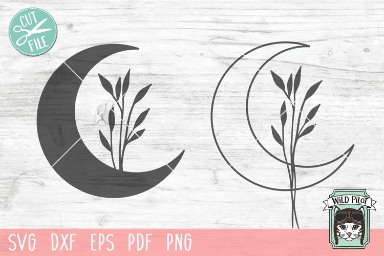 Moon Leaves SVG Cut File, Moon Floral SVG, Moon Flowers SVG example image 1