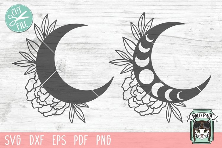 Moon Flowers SVG, Moon Phases SVG, Floral Moon, Just A Phase example image 1