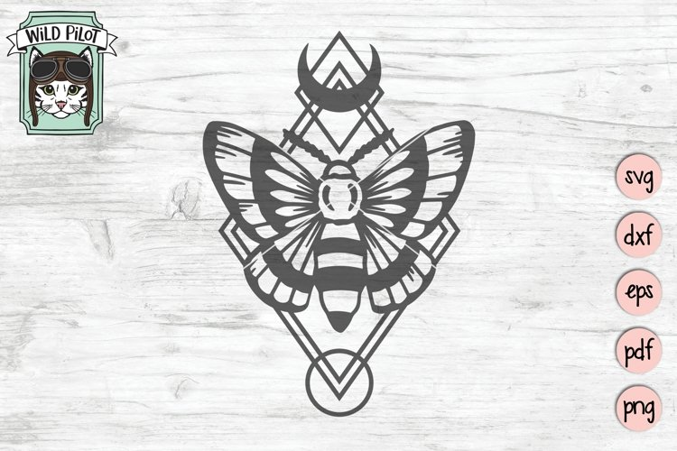 Moth SVG Cut File, Moth Geo SVG Cut File, Mystical SVG File