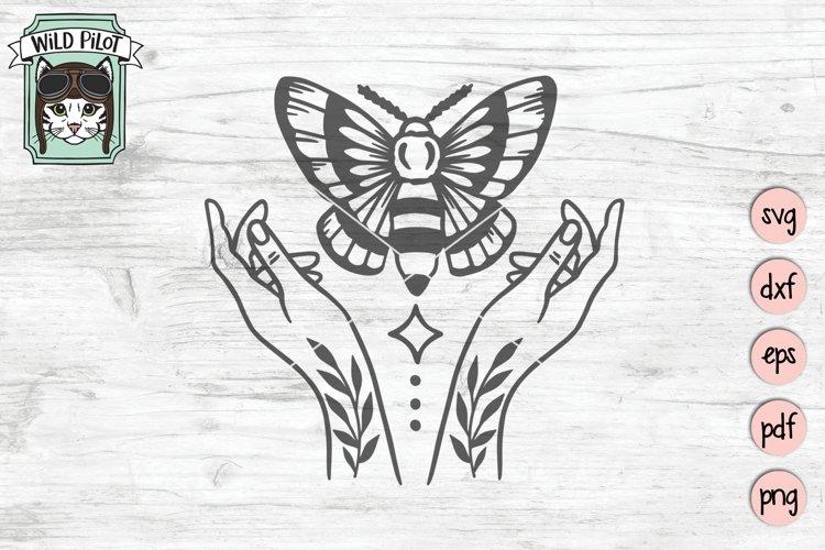 Moth SVG Cut File, Mystical SVG Cut File, Witchy Hands SVG