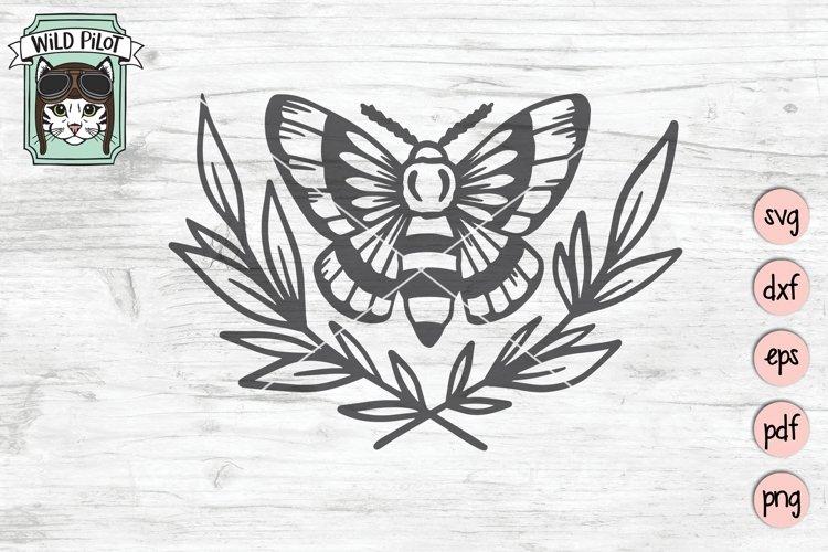 Moth SVG Cut File, Moth Laurel Leaves SVG File, Mystical SVG