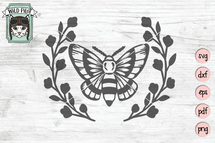Moth Wreath SVG, Moth Leaves SVG, Floral Moth, SVG, Mystical