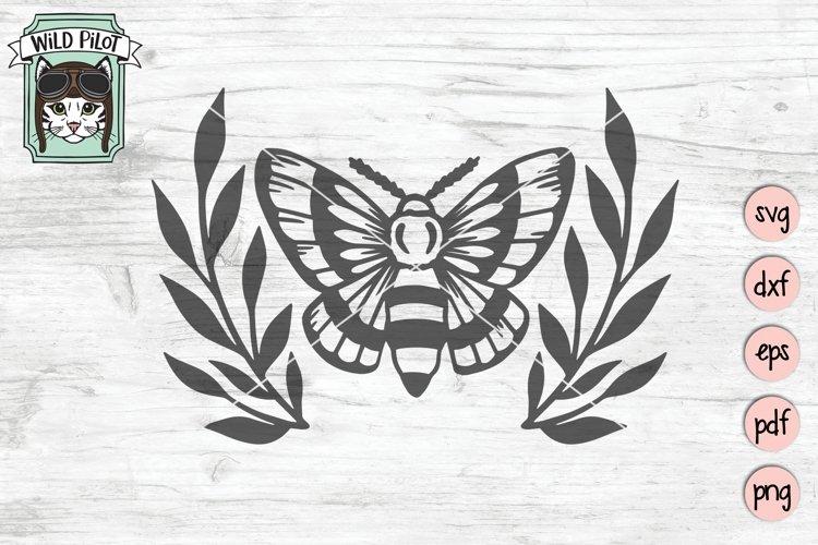 Moth Wreath SVG Cut File, Moth Leaves SVG File, Mystical SVG