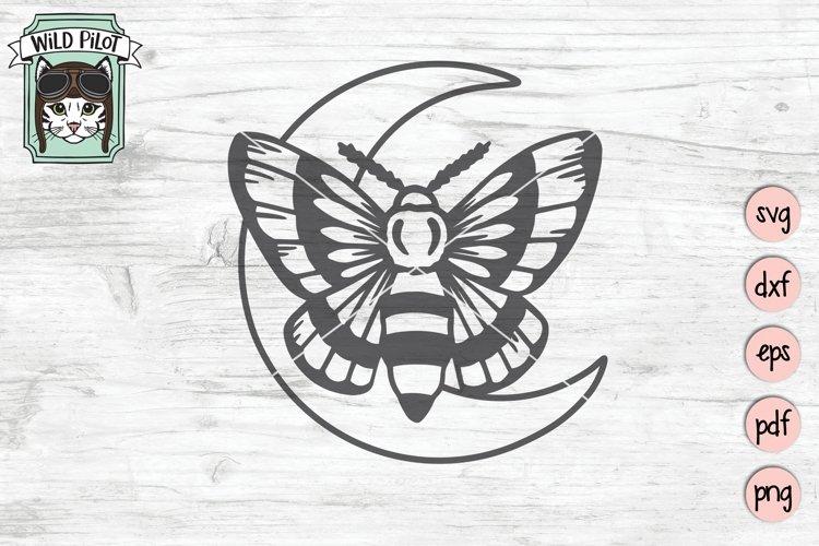 Moth Moon SVG Cut File, Moth SVG Cut File, Mystical SVG File