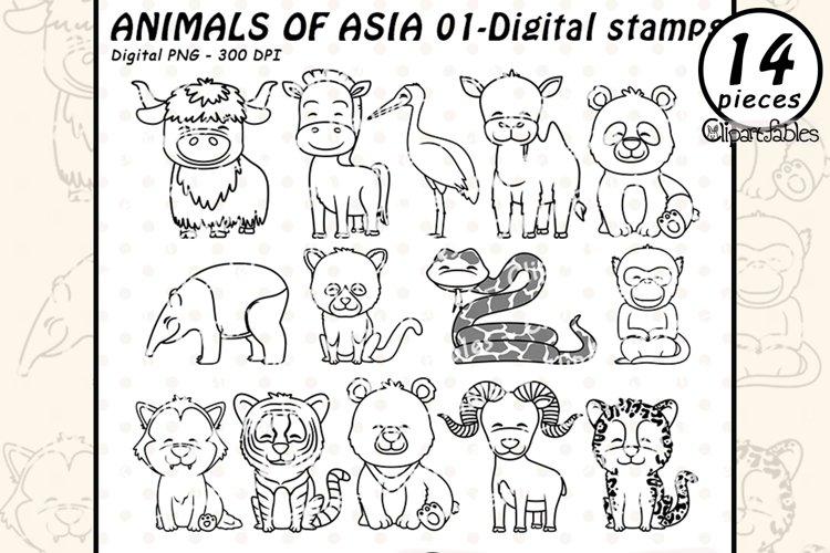 Cute ASIAN animals - Digital stamps, PANDA outline, Coloring