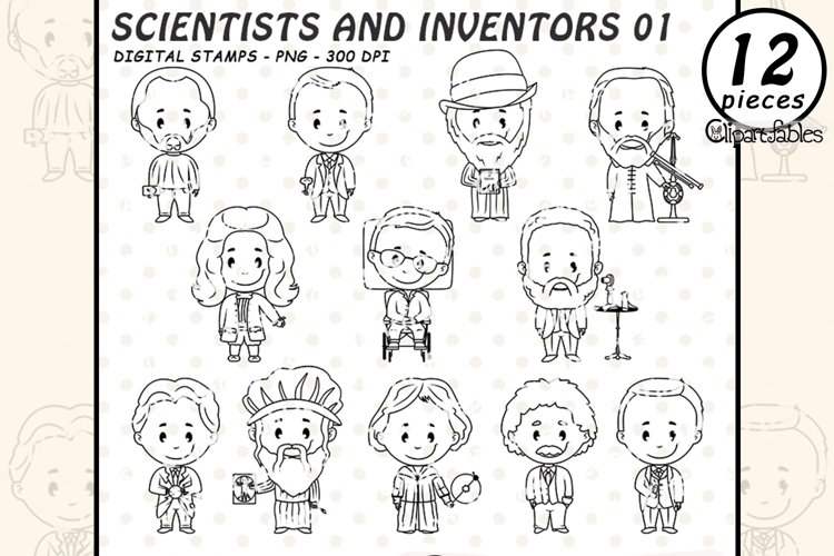 SCIENTIST and famous INVENTORS digital stamps, Outline