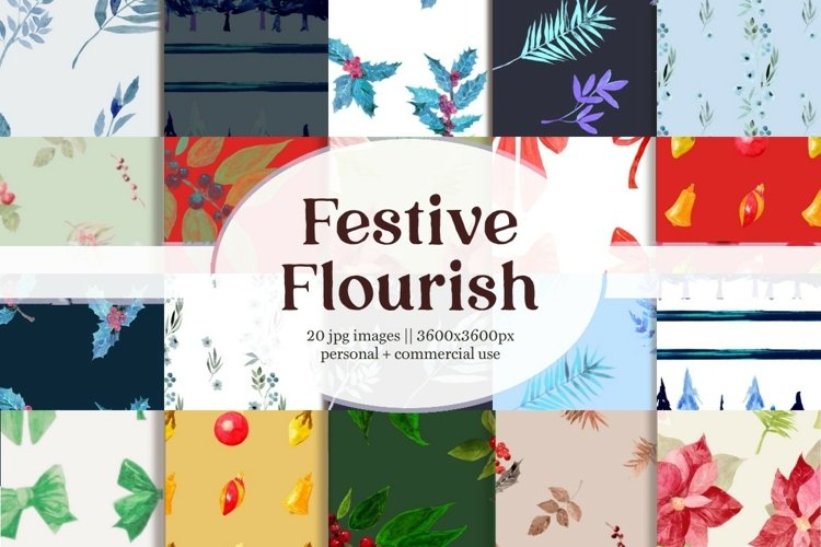 Holiday Festive Flourish Digital Paper Patterns